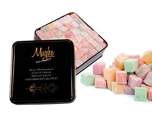 MUGHE GOURMET Luxury Turkish Delight with Rose 🌹, Strawberry 🍓, Lemon 🍋, Orange 🍊 and Mint 💚 Snack Gift Tin Box 1.3kg No Nuts/110 pc - Loukoumi Basket Delights - Sweet Vegan Lokum Soft Candy