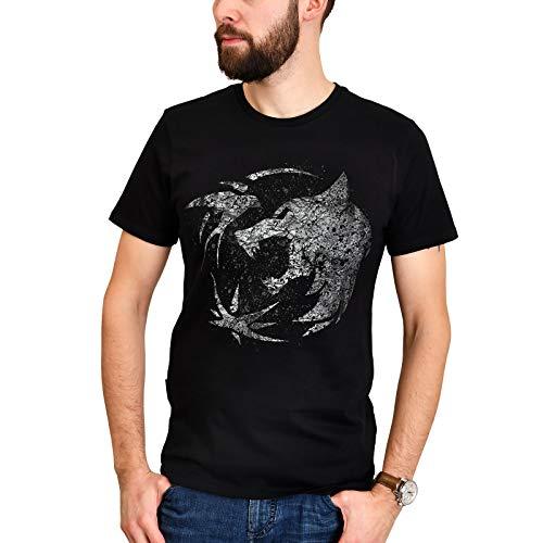 Elbenwald T-Shirt Wolf Emplem Frontprint für Witcher Fans schwarz - M