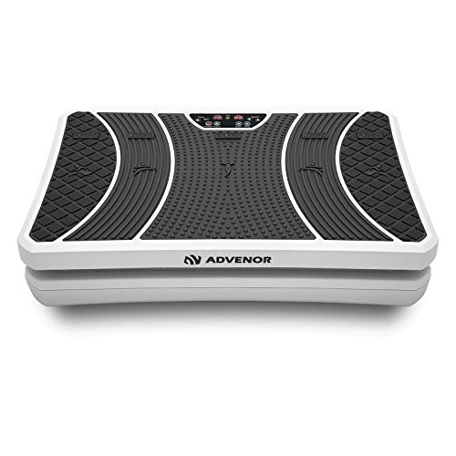 ADVENOR Vibration Plate Exercise Machine 3D Whole Body Workout Fitness Platform with Loop Bands Silent Motor Speed Control 1-99 Level for Home Fitness Max User Weight 330lbs
