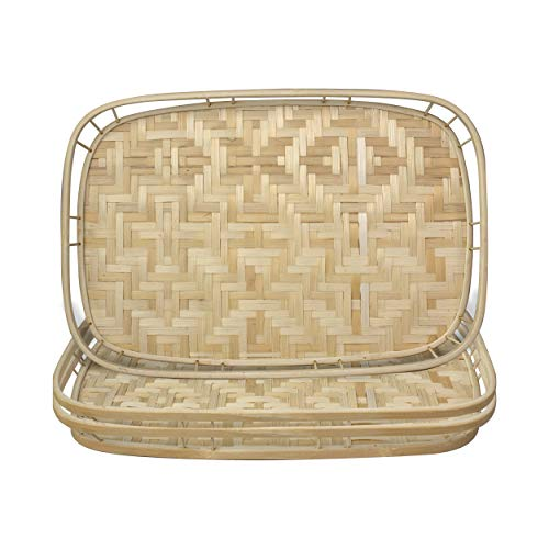 Made Terra Bamboo Wicker Serving Trays with Handles, Handwoven Serving Platter Trays for Coffee, Breakfast, Bread, Food, Dish and Decorative Trays for Dining Table (3 Pack) (3)