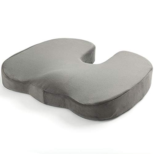 Memory Foam Seat Cushion - Coccyx Pillow for Lower Back, Sciatica Support | Orthopedic Relief of Aches & Pain from Joint and Posture Misalignment | Best Portable Comfort for Office & Travel