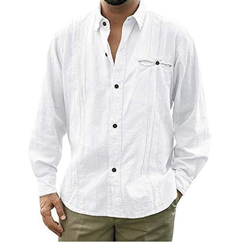 Camisa de Solapa para Hombre Color sólido Sencillez Cómoda Tendencia Casual Cosido Relajado Bolsillo Lateral Camisa de Manga Larga L