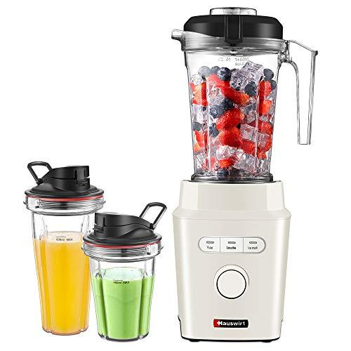 HAUSWIRT Standmixer Smoothie Maker - starke 30.000 U/Min bei energiesparenden 1200W - BPA-freie 1,45L Mixer Behälter + 2x Trinkbecher - Spülmaschinenfest - Ice-Crush-& Pulsfunktion - Edelstahlmesser