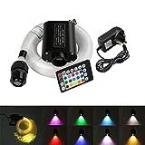 Kit de techo de fibra óptica de 16 W, RGBW LED con sensor de sonido, mando a distancia musical, motor de luz con mando a distancia IR de 20 teclas, 150pcs*0.03in*6.5ft 12.0volts