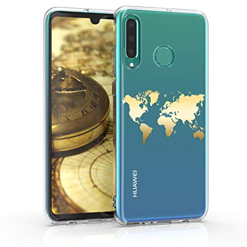 kwmobile Hülle kompatibel mit Huawei P30 Lite - Handyhülle - Handy Case Travel Umriss Gold Transparent