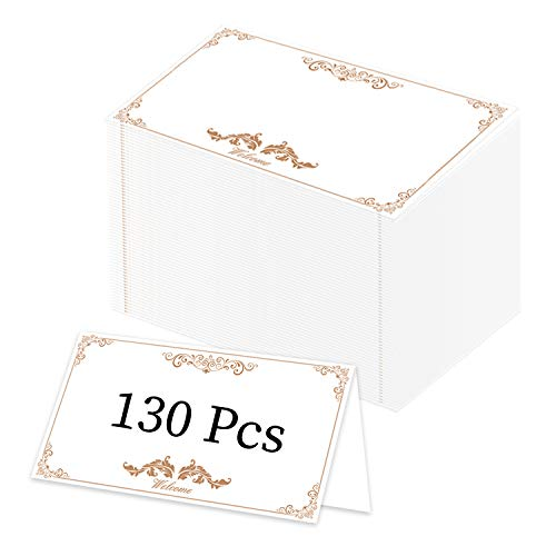 LeeLoon 130 Pcs Place Cards, Distinguished Style Folded Small Tent Cards with Golden Name Seating Cards for Weddings, Banquets, Events,Dinner Parties,Guest Seating, Buffet-(2.2 x 3.5 Inches)