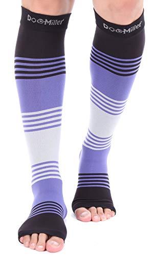 Mangas de compresión Doc Miller para pantorrilla, 1 par, 20-30 mmHg, soporte fuerte de pantorrilla, calcetines sin dedos para correr, recuperación varicosa, venas, XL, 2XL, 3XL, S, Puntera abierta, color morado, gris
