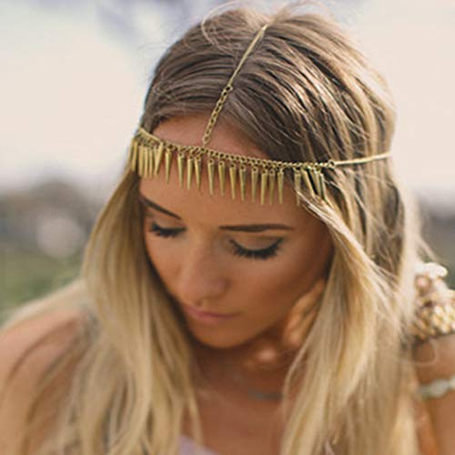 Clairy Boho Pointed Cone Head Chain Pendant Hair Chain Fashion Hair Jewelry Festival Hair Accessories for Women and Girls (Gold)