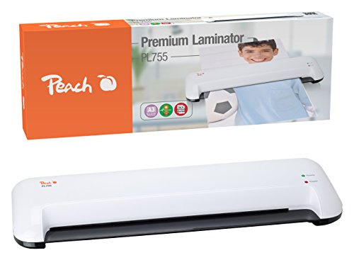 Peach PL755 Laminiergerät , schnell startklar , geeignet für handelsübliche Folien , 1½ Seiten pro Min. , inkl. 10 Laminierfoliengrau DIN A3