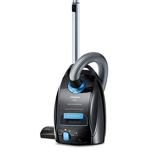 Siemens Staubsauger mit Beutel Q5.0 extreme silencePower VSQ5X1230, starke Saugleistung, ideal für Allergiker, Hygiene-Filter, Bodendüse für Parkett, Teppich, Fliesen, 850 W, schwarz