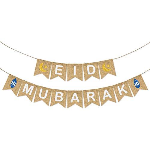 Eid Mubarak Banner Burlap - Eid Mubarak Decoration - Eid Mubarak Party Supplies - Rustic Eid Mubarak Banner Bunting for Mantle Fireplace - Eid Mubarak Outdoor Indoor Hanging Decor