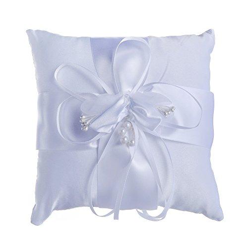 MINGZE Almohada de anillo de boda precioso flor adornos de imitación de perlas decoración de la boda nupcial suministros de regalo, blanco, 15 * 15 cm