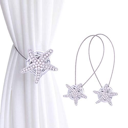 CHICTIE 2 Pieces Starfish Curtain Tiebacks Magnetic Drapery Holdbacks Decorative Pearl Crystal Sea Stars Metal Buckle Clip for Living Bedroom (Silver)