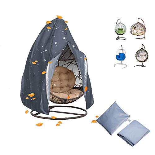 Enzeno Egg Patio Hanging Egg Chair Cover Outdoor Swing Egg Chair Cover Waterproof Anti-dust with Zipper 210D Oxford Fabric Veranda Garden Lawn Chair Protector Furniture Accessory 115x190cm (Grey)