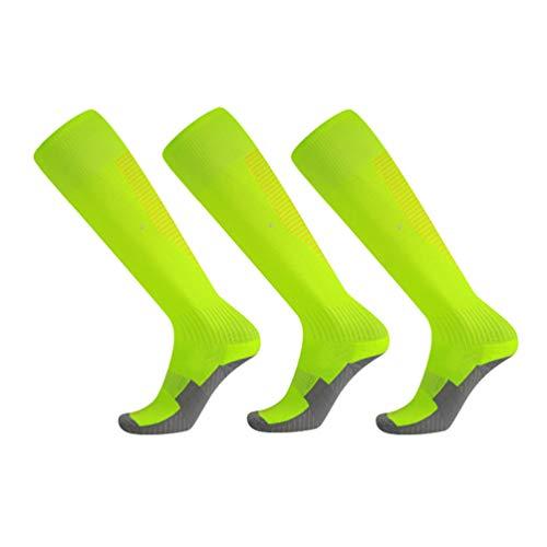 WanYangg Unisex Atmungsaktiv Verschleißfest Strümpfe Stutzen Rutschfeste Sport Socken, Dicke Deodorant für Fußball Basketball Trekking2#Fluoreszierender grüner + gelber Streifen 3 * Erwachsene