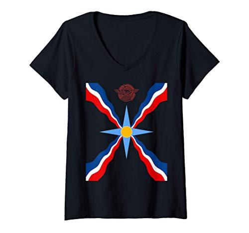 Damen Assyrian Ashur Flag Assyrian Flag Ator T-Shirt mit V-Ausschnitt