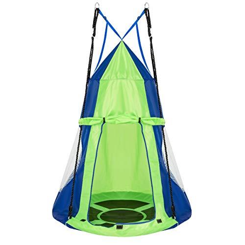 COSTWAY Ø 100cm Nestschaukel mit Zelt, Gartenschaukel bis 150kg belastbar, Kinderschaukel mit Tür und Fenster, Tellerschaukel für Indoor und Outdoor, inkl. höhenverstellbarem hängendem Seil (Grün)