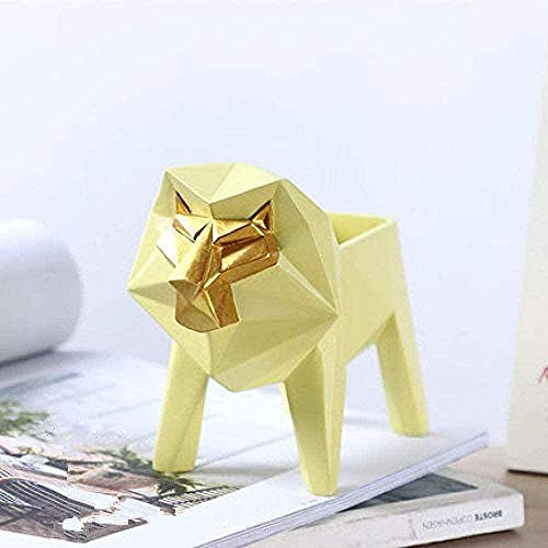 Ornaments Statues For Home Decor Animal Sculpture Yellow Lion Animal Shape Design Animal Sculpture Remote Control Multifunctional Storage Box Art Modern For Living Room Tv Cabinet Porch Wine Cabinet S
