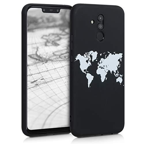 kwmobile Cover Compatibile con Huawei Mate 20 Lite - Custodia in Silicone TPU - Cover Protettiva Soft Case - Contorni Bianco/Nero