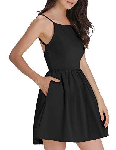 FANCYINN Damen Sommerkleid Armellos Spaghetti-Armband Kleider Elegant Rückenfreies Kurze Kleid Minikleid Schwarz-M(38-40)