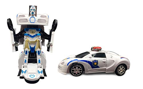 ML Coche policia de Juguete Coche Robot Car Transformers Juguete para niños niñas Regalos cumpleaños Navidablanco-Trans