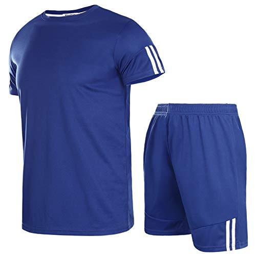 Aibrou Herren Kurzarm Sportswear Set Männer Schnell Trocknend Laufendes T-Shirt Trainingskleidung Jersey Fußball Set Navyblau M