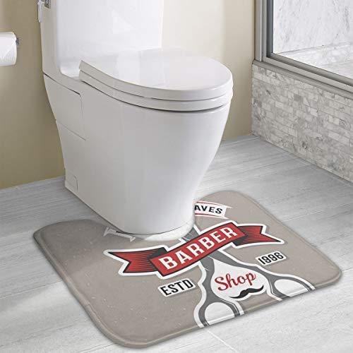 Kleur Barber Schaar Poster Vector Afbeelding Geheugen Schuim Toilet Bad Mat U-Shaped,Zacht en Comfortabel Toilet Mat, Badkamer Mat, Wasbaar 19x16 Inch