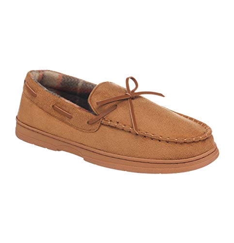 26 Accessories Men's Moccasin Flannel Lined Slippers with Memory Foam Indoor Outdoors,Cognac,L