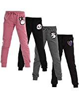 C CRUSH ORIGINAL Women's 4 Pack Solid Cut and Sew Yummy Fleece Jogger Pants with Sequin Patch, Large