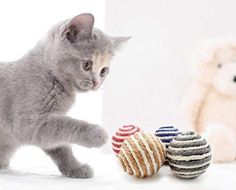 Yiteng 猫 おもちゃ ボール 噛むおもちゃ 麻縄 ボール 運動不足やストレス解消  猫遊び用 音が鳴るボール 5個