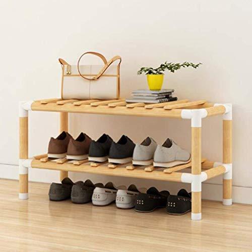 HyiFMY Zapatero, Gabinete de Zapatos a Prueba de Polvo Natural Bambú Zapato de Zapatos Banco Organizador de Zapatos Equipo de Asiento Muebles de Almacenamiento Mobiliario (Tamaño: 3 Nivel (623053cm))