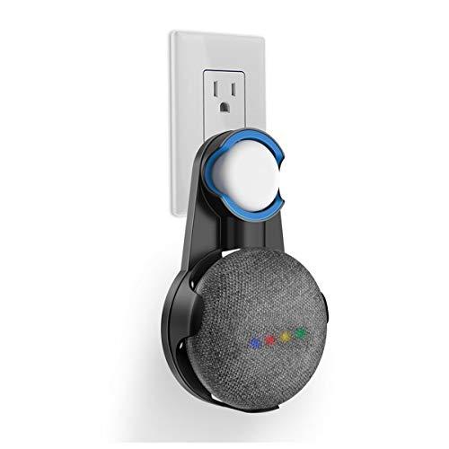 SPORTLINK Google Home Mini 壁掛け ホルダー Google Home Mini スピーカー マウント スタンド ホルダー コンセント 隠れている コードで省スペース 簡単に移動するスタンド 滑り止めゴム付き コード収納 グーグルホームミニ アクセサリー (ブラック)