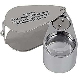 40X Full Metal Illuminated Jewellery Magnifier,XYK Folding Scientific Document Magnifying Glass Jewellers Lens Eye Loupe with LED and UV Light(LED Currency Detecting/Jewelry Identifying Type):Ege17ru