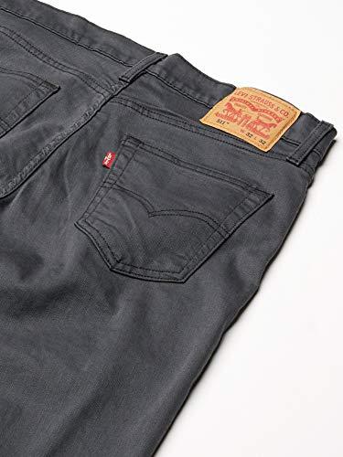 Levi's Men's 511 Slim Fit Jean, Grey – Black 3D – Stretch, 34W x 34L