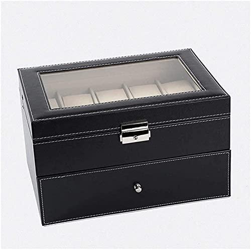 Makeup mirror DBL Boîte de Rangement de Bijoux Boîte de Montre Soft Oreillers Contient 20 Montres Boîte de Montre Black Watch Boîte de Rangement boîtier avec Plateau en Verre