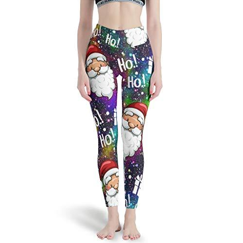 Ballbollbll Santa Claus Christmas Ho - Pantalones de yoga para mujer, cintura alta y control de barriga, sin costuras, para correr en la escuela, para uso diario, ocio, blanco, M