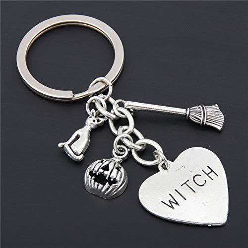 XHYKL 1 stuk Halloween dag pompoen sleutelhanger heks kat sleutelhanger gothic bezem charme geschenk voor heks verliefde Jewlery