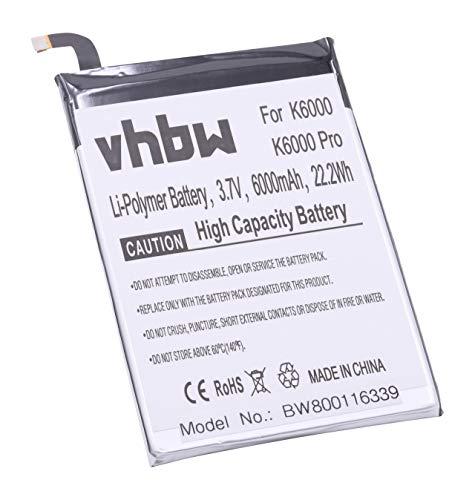 vhbw Litio polímero batería 6000mAh (3.7V) para móvil Smartphone teléfono Oukitel K6000, K6000 Pro