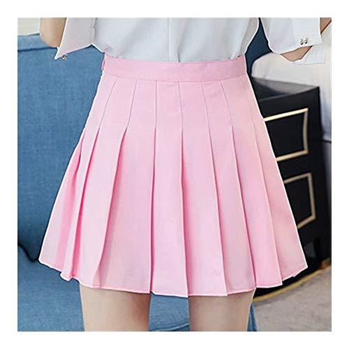 Mädchen Plissee Tennis-Rock Mit Hoher Taille Kurzes Kleid Mit Unterhose Schlank Schuluniform Frauen Teen Cheerleader Badminton Röcke Das Mädchen (Color : Pink, Size : S)