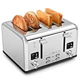 Zovoty CP233A Bagel Stainless Steel 4 Slice Toaster, 4 Extra Wide Slots Staineless Steel, White-LED