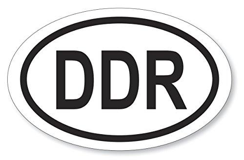 6 Stück Aufkleber DDR oval 9,5x14,5cm, Folienaufkleber schwarz weiß (Auf-519)