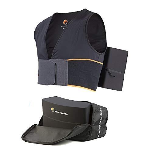 Nachtwaechter Anti-Schnarch-Set - Schnarchen einfach abtrainieren - Schlafweste mit Reisetasche, schwarz, Gr. M/L