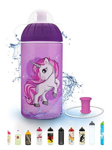 FreeWater Trinkflasche, 500 ml, Einhorn 2 lila: schadstofffrei, spülmaschinengeeignet, auslaufsicher, langlebig