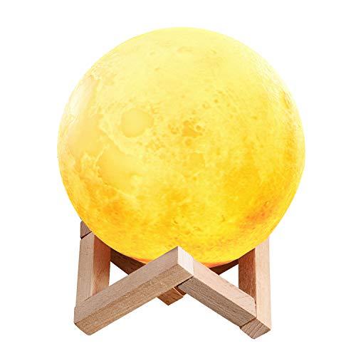 3D Lampada Luna, TenMotion LED Lampade Lunare da Tavolo per Bambini, Regalo, Camera da Letto, Toccare il Controllo lampada da comodino, Regolabile Colori Luce Notturna con USB Ricaricabile, 15cm