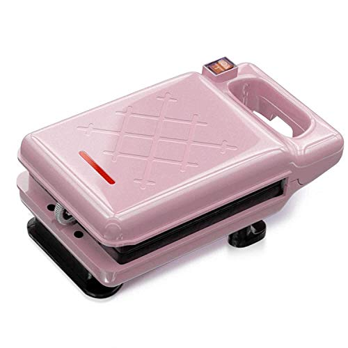 HSZW polierter Edelstahl-Toaster Haushalts-Multifunktions-HEI?gepresste doppelseitige 600-W-Mini-Toaster-Brotmaschine (Color : Pink)
