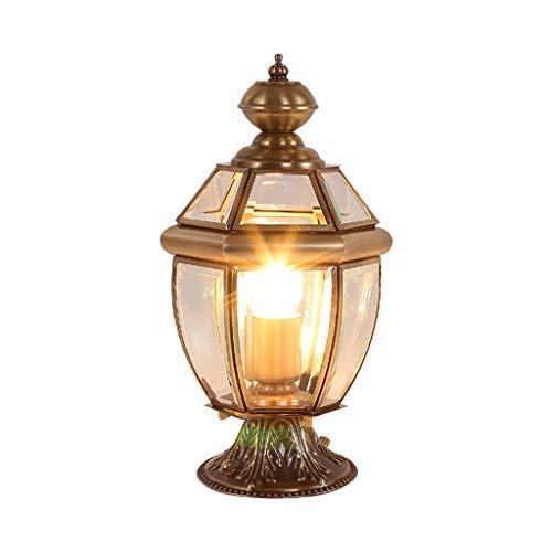 Pilier Lampe cuivre extérieur européen Porte Lampe Murale Mur Pilier Lampe Villa extérieure étanche Lampes (Color : Brass, Size : 26 * 26 * 50cm)