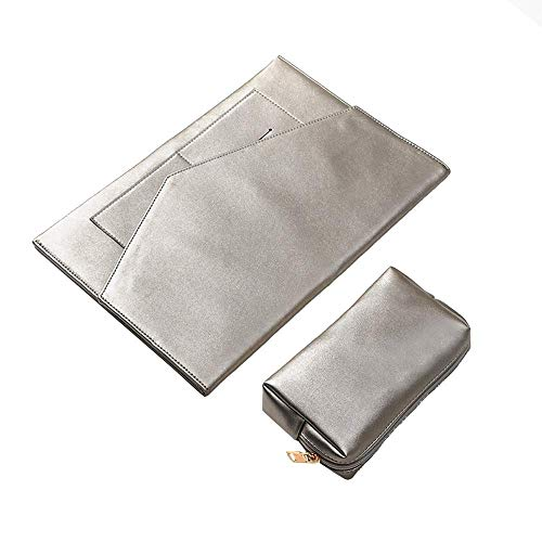 I3C Champagne Silver Canvas Laptop Sleeve Cover + Power Storage Bag Laptop PC Waterproof Bag Carrying Soft Notebook Case Cover for Personal Use (15 inch)