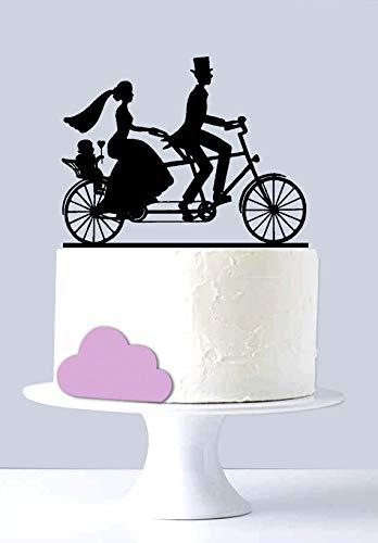 Mr and Mrs - Decoración para tarta de bicicleta, diseño con texto en inglés