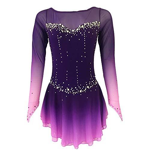 Rmckj-M Eiskunstlaufkleid Damen Mädchen Schlittschuhe Kleid Atmungsaktiv Bequem Ärmellos Performance Skating Wear Hohe Elastizität Elasthan, Spandex, violett, XS
