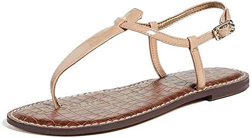 Sam Edelman Women's Gigi Classic Flat Sandal, Almond Patent, 5 Medium US